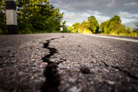 Roads damaged from earthquake