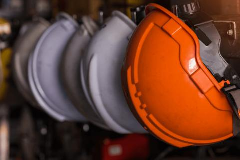 Safety helmet at a plant.