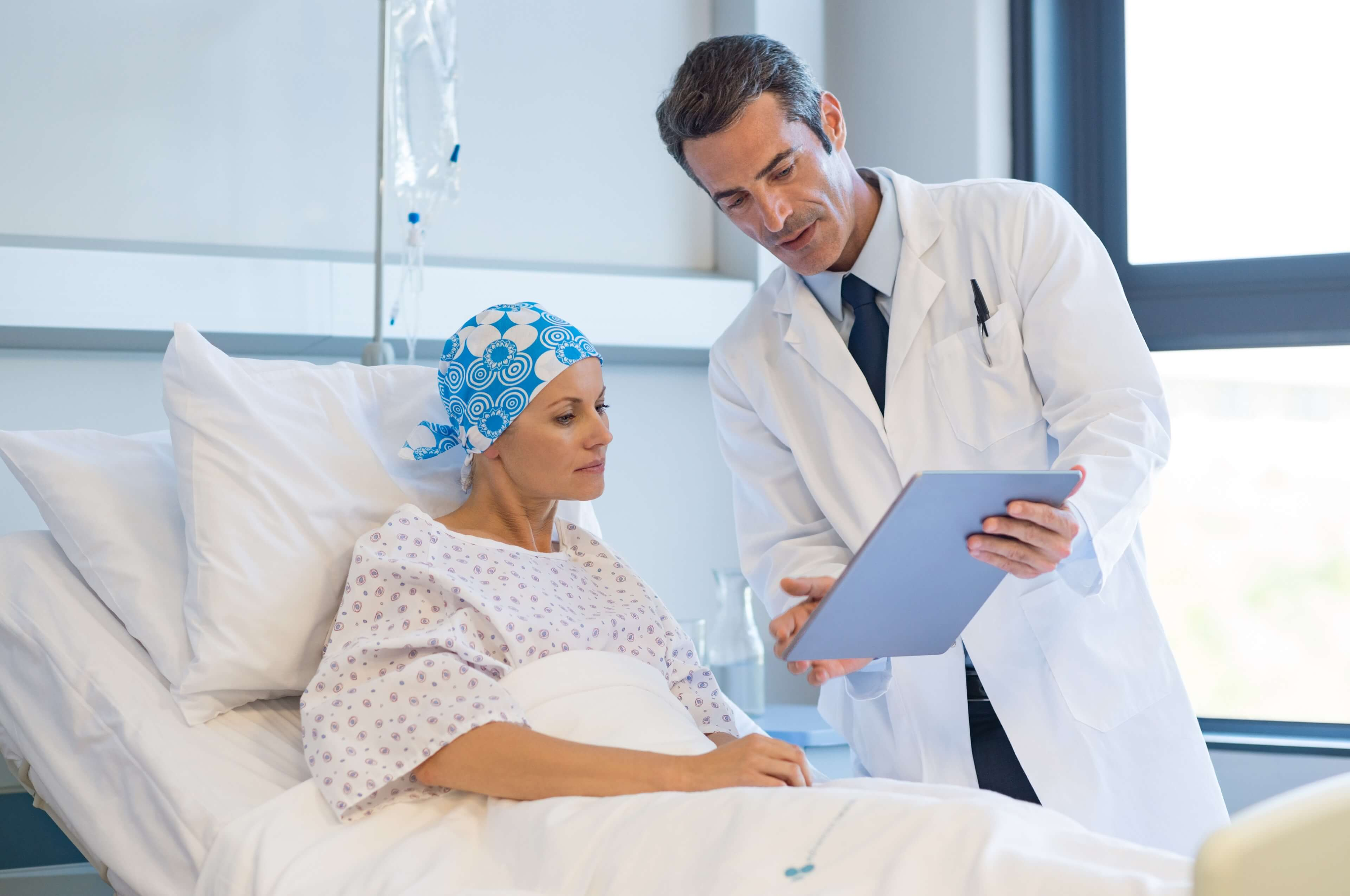 Doctor reviewing results with cancer patient