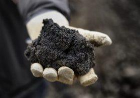 A handful of black coal tar.