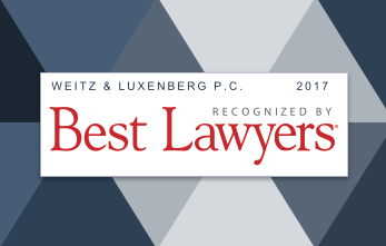 "Banner that says: ""Weitz & Luxenberg Recognized by 2017 Best Lawyers"""