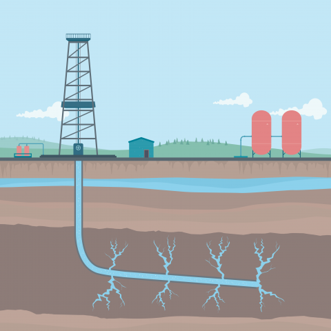 Fracking and wastewater disposal illustration.