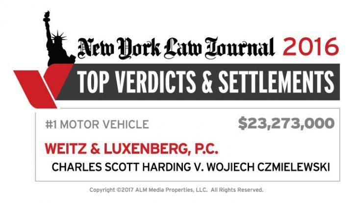 New York Law Journal ranking Weitz & Luxenberg's $23 million verdict as the year's leading Motor Vehicle verdict.