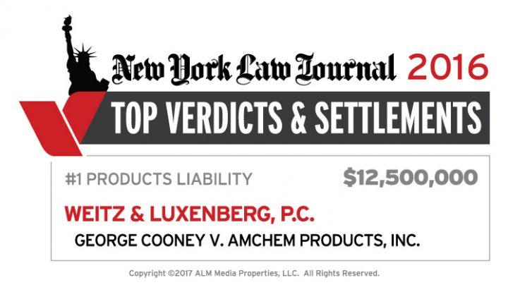 New York Law Journal ranking Weitz & Luxenberg's $12.5 million verdict as the year's leading Products Liability verdict.