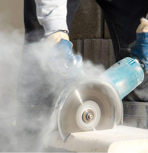 Asbestos fibers create a dust that hovers in the air.