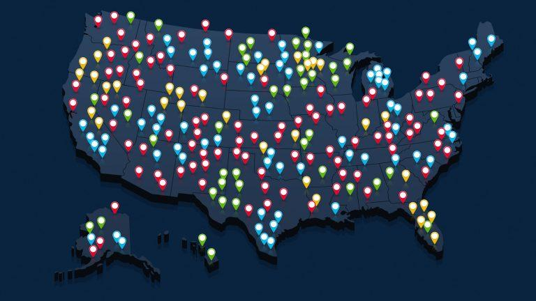 Map of environmental pollution across the United States.