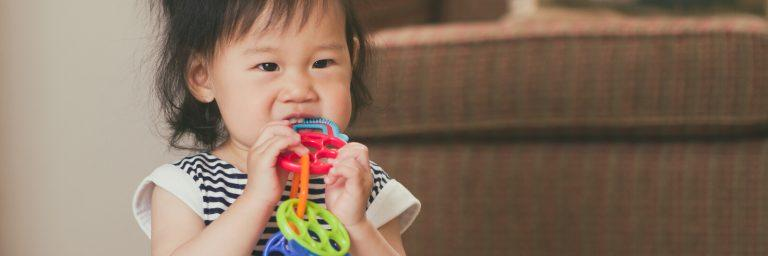 Toddler chewing on teething toy.