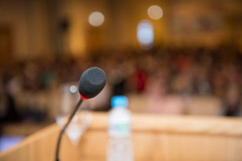 microphone and podium at conference